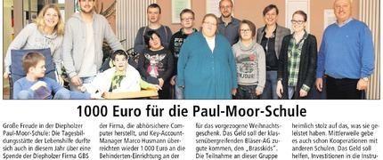 Charitable donation for Paul-Moor-School Diepholz