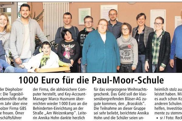 Spende für die Paul-Moor-Schule