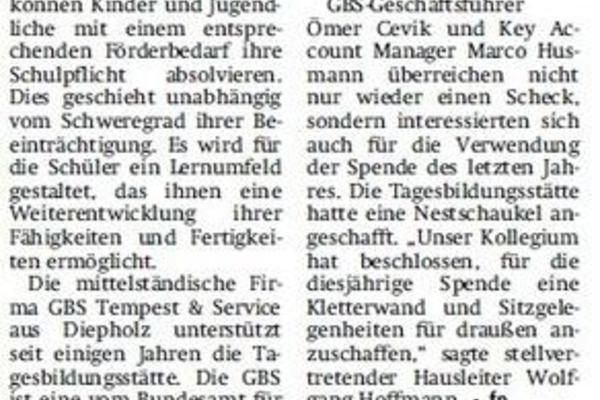 Zeitungsartikel GBS-Spende